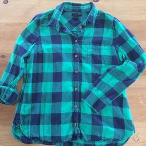 J. Crew plaid button up shirt.